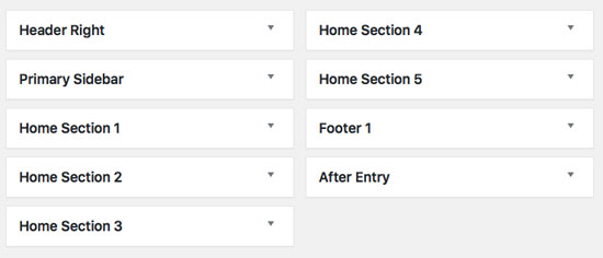 ... are 5 different home section widget areas and a header right widget